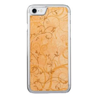 brown vintage swirl leaves art carved iPhone 8/7 case