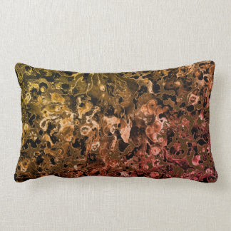 Brown watercolor ebru design lumbar pillow