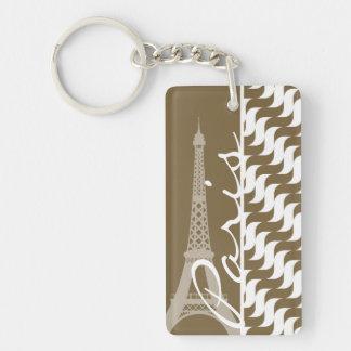 Brown Wave; Eiffel Tower Rectangular Acrylic Keychains