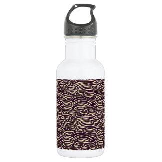 Brown waves pattern. Sea texture. 532 Ml Water Bottle