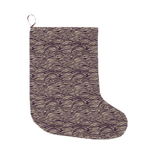 Brown waves pattern. Sea texture. Large Christmas Stocking