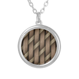 Brown weave from basket  textile silver plated necklace