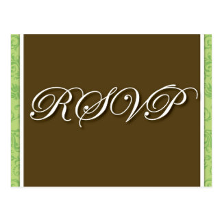 Brown Wedding RSVP  Postcard