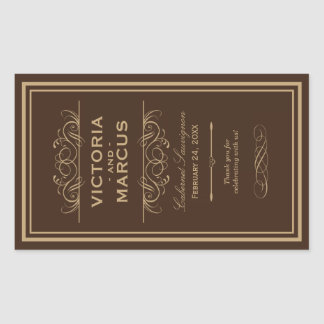 Brown Wedding Wine Bottle Monogram Favor Rectangular Sticker