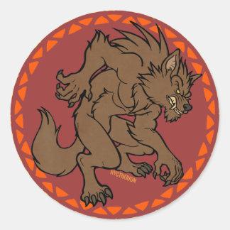 Brown Werewolf Classic Round Sticker