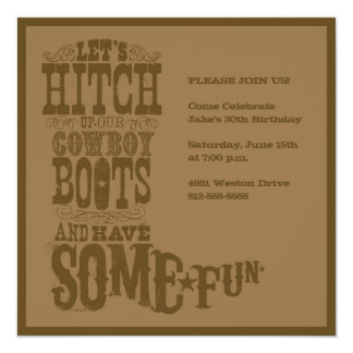 Brown Western Cowboy Boot Invitation