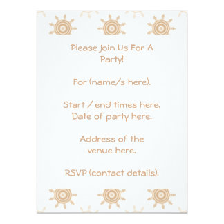 Brown Wheel Cogs. Fractal Circles Pattern. 17 Cm X 22 Cm Invitation Card
