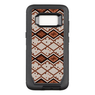 Brown & White Abstract Snake Geometric Pattern OtterBox Defender Samsung Galaxy S8 Case