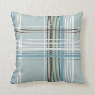 Brown White and Light Blue Plaid Throw Pillow