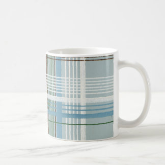 Brown White and Light Blue Plaid Coffee Mugs