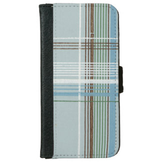 Brown White and Light Blue Plaid iPhone 6 Wallet Case
