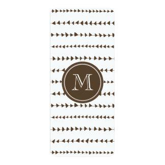 "Brown White Aztec Arrows Monogram 4"" X 9.25"" Invitation Card"