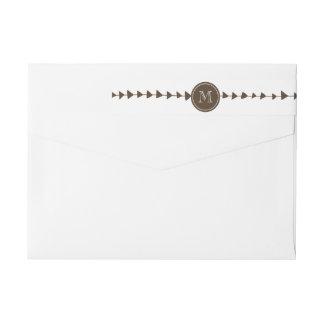 Brown White Aztec Arrows Monogram Wraparound Return Address Label