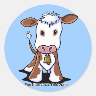 Brown & White Cow Classic Round Sticker