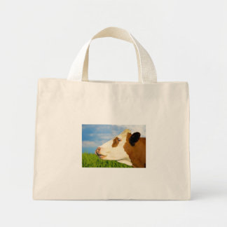 Brown white cow looking straight ahead canvas bag