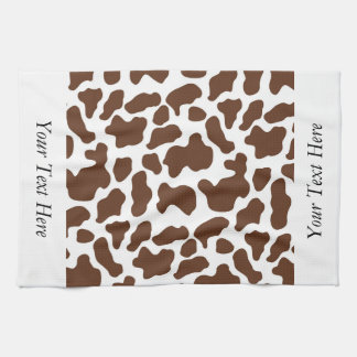 Brown White Cow Pattern Personalized Tea Towel