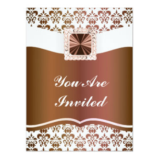 Brown & white damask any occasion 17 cm x 22 cm invitation card