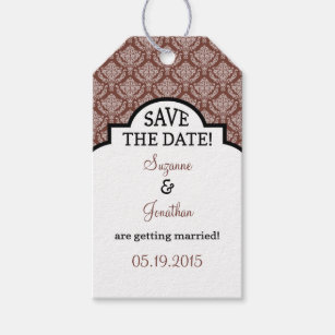Brown White Damask Save The Date Tags
