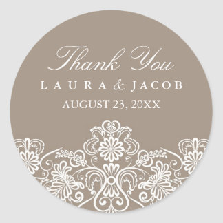 Brown & White Floral Lace Wedding Stickers