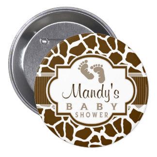 Brown, White Giraffe Animal Print Baby Shower 7.5 Cm Round Badge