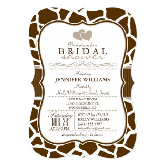 Brown, White Giraffe Animal Print Bridal Shower 13 Cm X 18 Cm Invitation Card