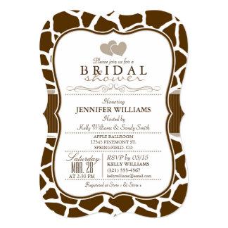 Brown, White Giraffe Animal Print Bridal Shower 13 Cm X 18 Cm Invitation Card