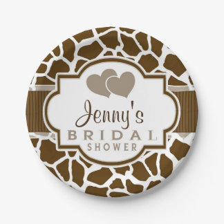 Brown, White Giraffe Animal Print Bridal Shower 7 Inch Paper Plate