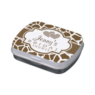 Brown, White Giraffe Animal Print Bridal Shower Candy Tin