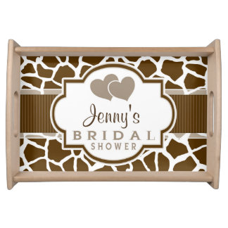 Brown, White Giraffe Animal Print Bridal Shower Serving Platters
