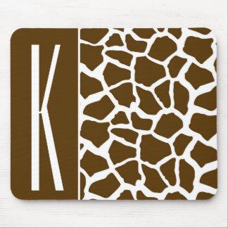 Brown & White Giraffe Animal Print Mousepad
