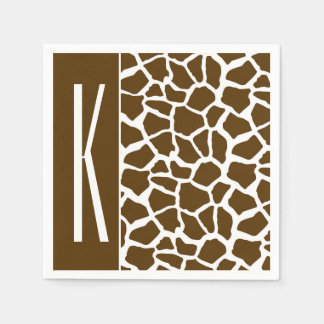 Brown & White Giraffe Animal Print Paper Napkins