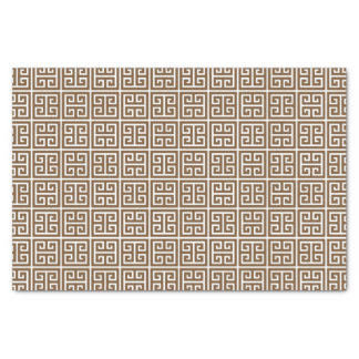 Brown White Greek Key Tissue Paper