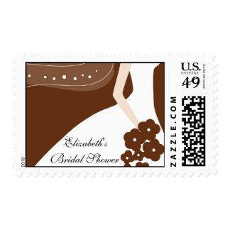 Brown / White Modern Bride Bridal Shower Stamp