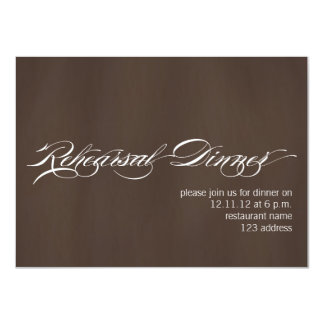 Brown White Modern Rehearsal Dinner Invitation