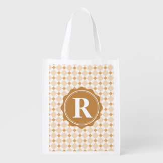 Brown White Monogram Check Pattern Reusable Grocery Bag