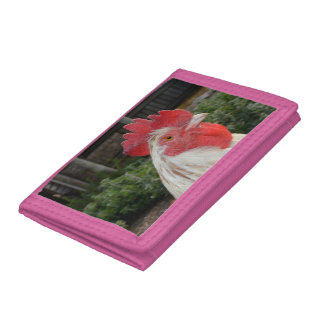 Brown White Rooster Face, Pink Trifold Wallet. Tri-fold Wallet