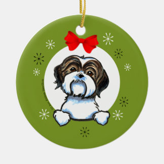 Brown White Shih Tzu Christmas Classic Ceramic Ornament