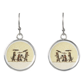 Brown White Striped Cat Family in Snow Umbrellas Earrings
