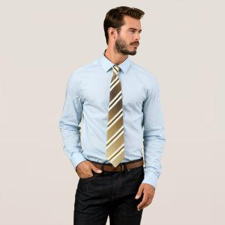 Brown white stripes tie