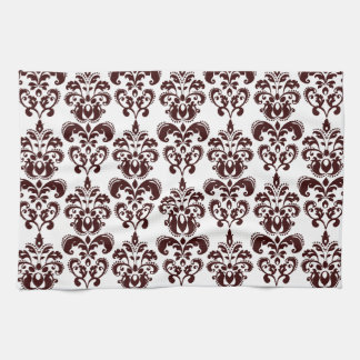 BROWN WHITE VINTAGE DAMASK PATTERN 2 TEA TOWEL