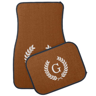 Brown White Wheat Laurel Wreath Initial Monogram Car Mat