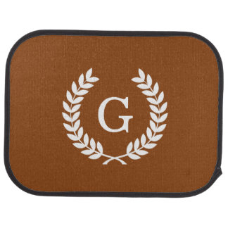 Brown White Wheat Laurel Wreath Initial Monogram Floor Mat