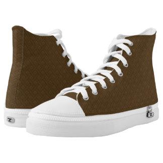 Brown Wicker Look Printed Shoes
