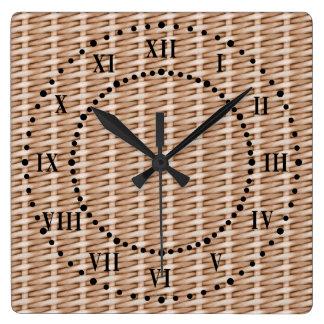 Brown Wicker Look Roman Numeral Wall Clock