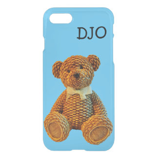 Brown Wicker Teddy Bear and your Initials iPhone 7 Case