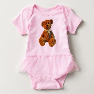 Brown Wicker Teddy Bear Baby Bodysuit