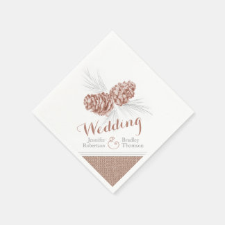 Brown winter pine cone art wedding paper napkins