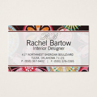 Brown with colorful flowers business card