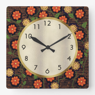 Brown with Orange and Yellow Flowers and Gold Square Wall Clock