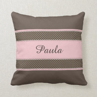 Brown with Pink Personalised Throw Pillow
